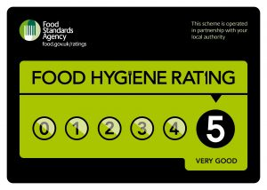 Food Standards Agency rating of 5 for Food Hygiene which is very good